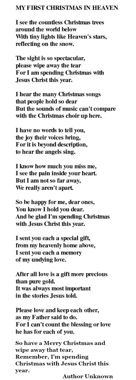 My First Christmas In Heaven Poem ~ from those we miss so much who are now in heaven