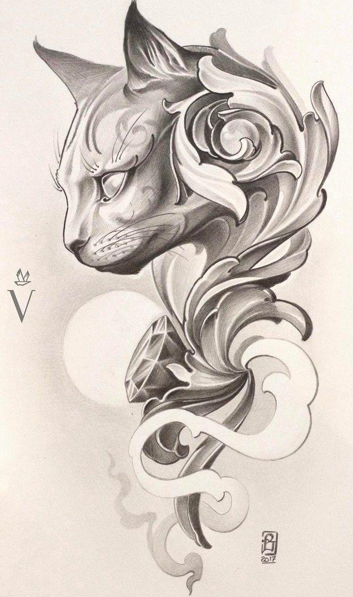 Cat Tattoo Design Risunki Tatuirovka Koshka Eskiz