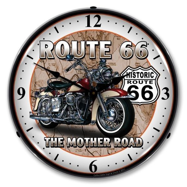Retro Route RT 66 Motorcycle Game Room Man Cave Backlit Lighted Wall
