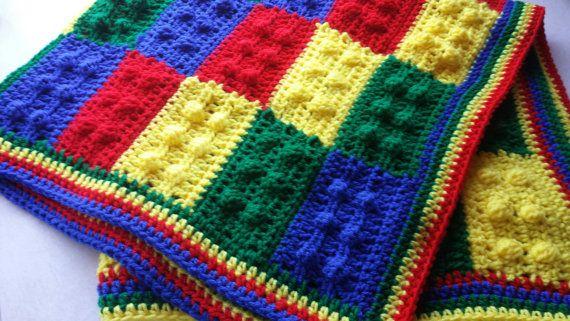 Lego Baby Blanket Crochet Lego Afghan Lego Throw Crochet Baby Afghan ...