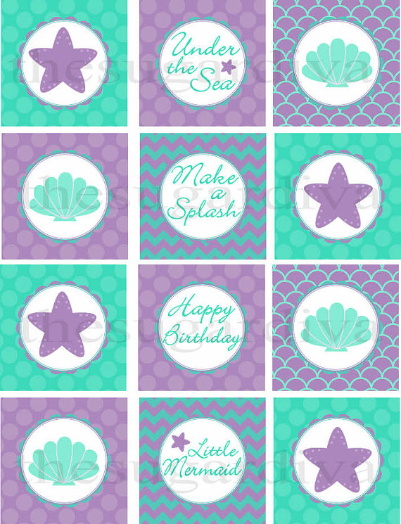 Cupcake Toppers Under the Sea Cupcake Topper Mermaid Cupcake