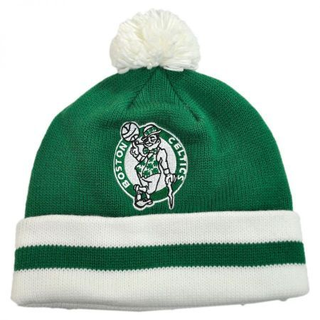 Boston Celtics NBA Cuffed Knit Beanie Hat w  Pom available at   VillageHatShop c83f13f5cdf