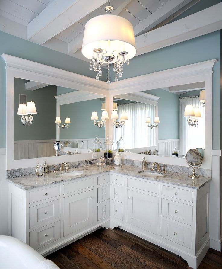 Love The Idea Of Corner Mirror Rather Than Long On 1 Wall Better For Smaller Bathrooms