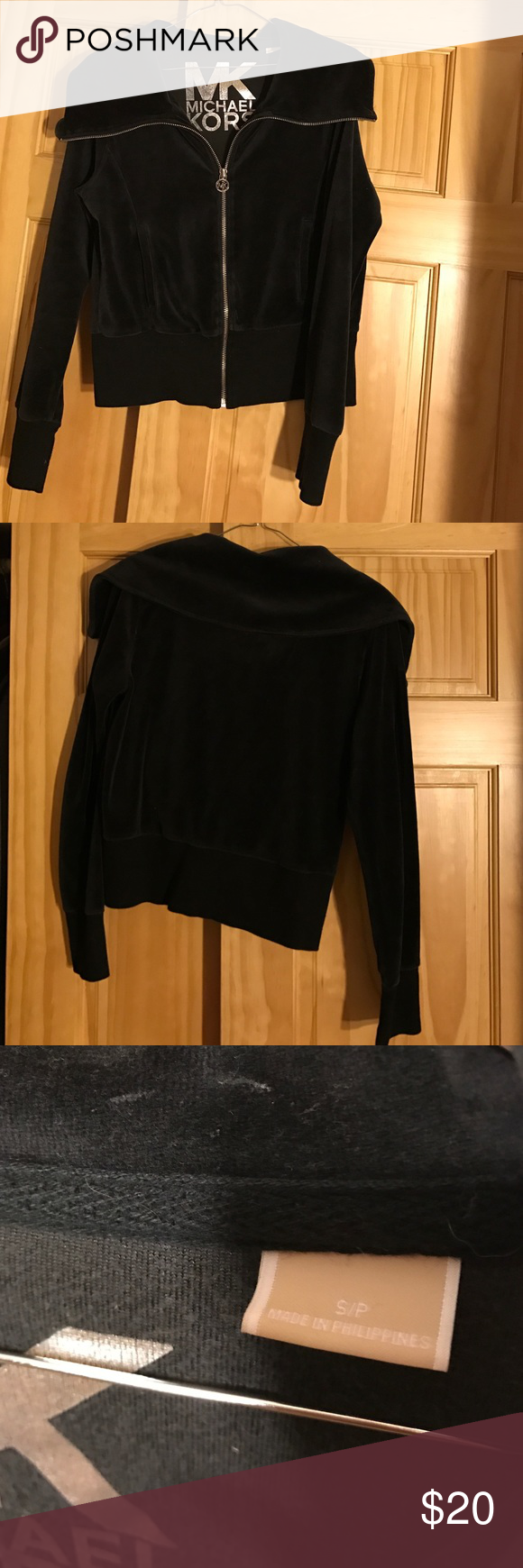 MK MICHAEL Michael Kors Black Velour Track Jacket MK Michael Kors Black Velour Track Jacket. Size Small. Large collar no hoodie. Used - gently.PLEASE MAKE OFFERS THROUGH OFFER FEATURE 😊 MICHAEL Michael Kors Tops Sweatshirts & Hoodies