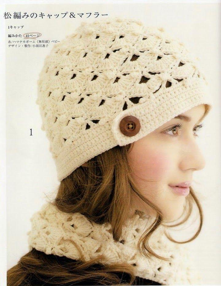 Crochet y dos agujas: Gorro y bufanda con punto abanico al crochet ...