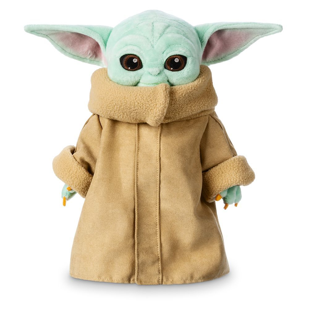 Embrace the creature known as ''the Child,'' affectionately known as Baby Yoda, with this soft, cuddly plush toy featuring faux suede coat and fuzzy trims. This irresistible infant is inspired by Star Wars: The Mandalorian now streaming on Disney+. May the hugs be with you!