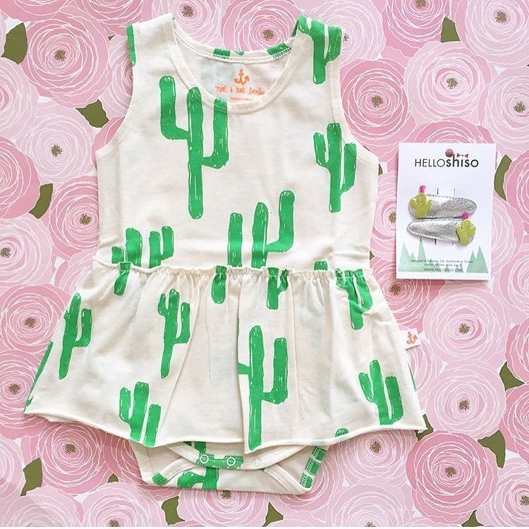 e99c321ef58  Cactus fever! Baby romper from Noe   Zoe and cactus hair clips from hello