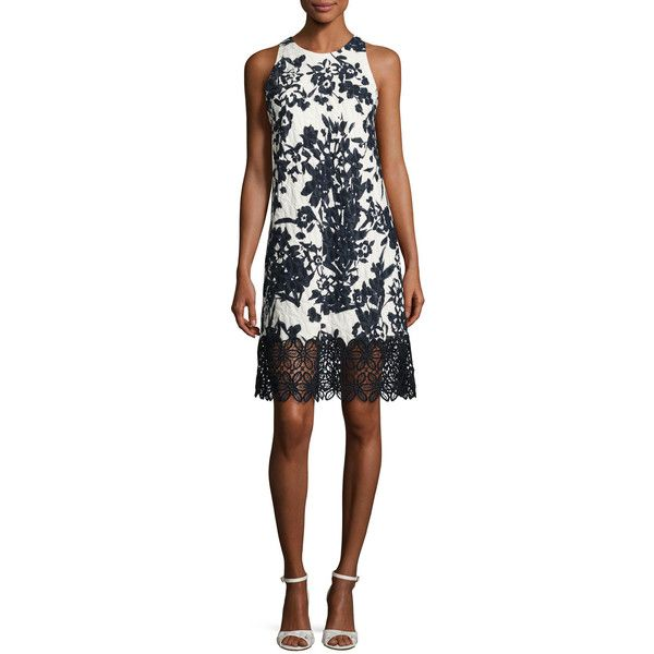 Carmen Marc Valvo Sleeveless Floral Jacquard Cocktail Dress ($795) ❤ liked on Polyvore featuring dresses, jacquard dress, slimming cocktail dresses, white cocktail dress, floral print cocktail dress and floral cocktail dresses