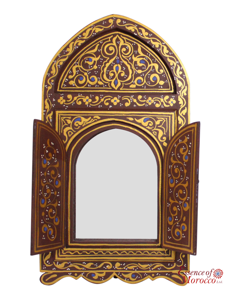 Moroccan Mirror Wood Bab Door Antiqued Gold Brown Handmade Handpainted Limited Edition 6