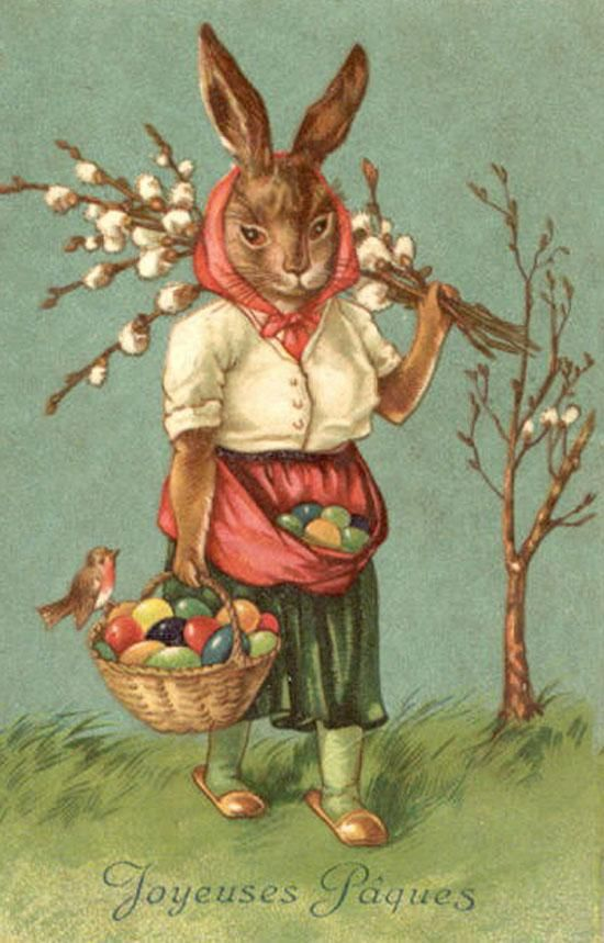 Joyeuses Paques Bunny Rabbit Easter Eggs From Vintage Postcard Magnet