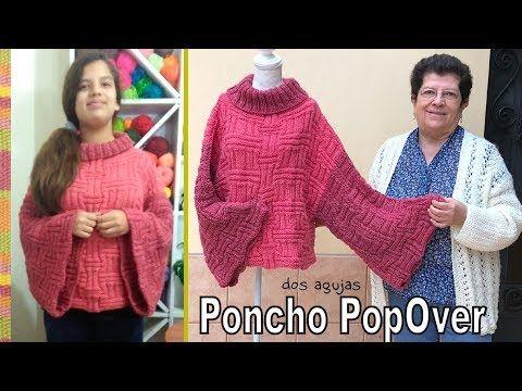 Poncho PopOver tejido a dos agujas o palitos en punto cesta ...