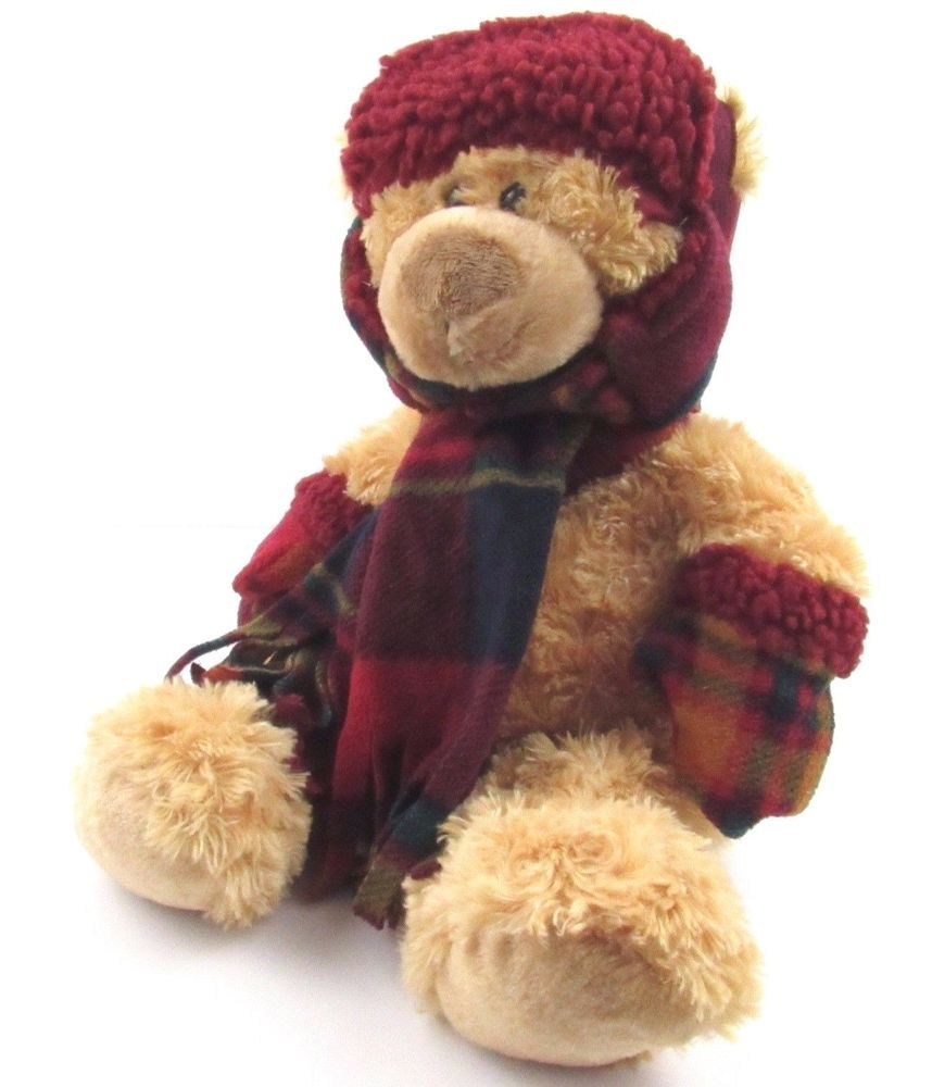 Hugfun Int L Teddy Bear Plush Brown 17 Winter Scarf Mittens Hat Stuffed Animal Hugfunintl Teddy Bear Plush Teddy Bear Animals