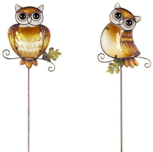 Gift Craft 40.2 Inch Metal And Painted Glass Owl Design Garden Stakes,  Large By