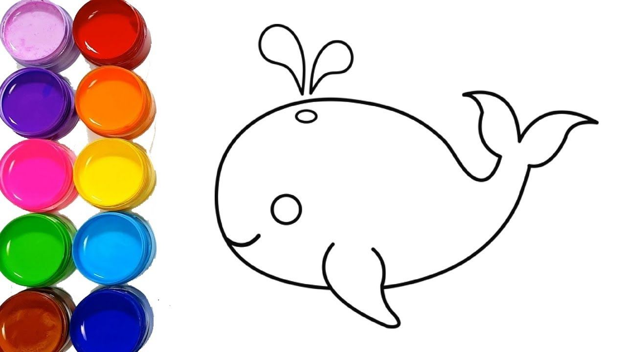 Cute Whale Drawing And Coloring Pages Easy Step By Step For Kids