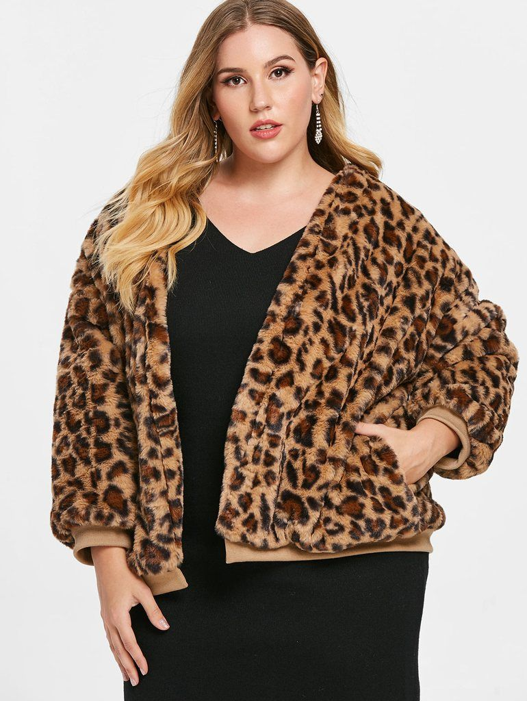 Plus Size Faux Leather Leopard Fur Jacket Fur jacket