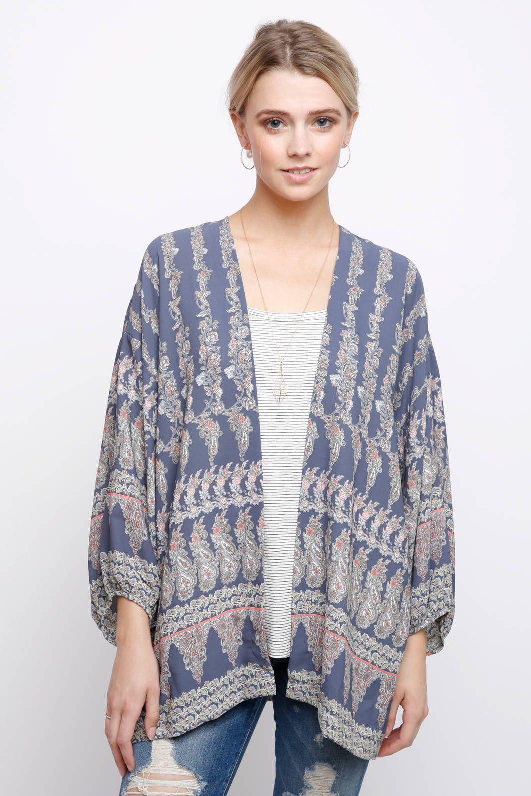 Audrey 3+1 Paisley Print Kimono - feeling blue