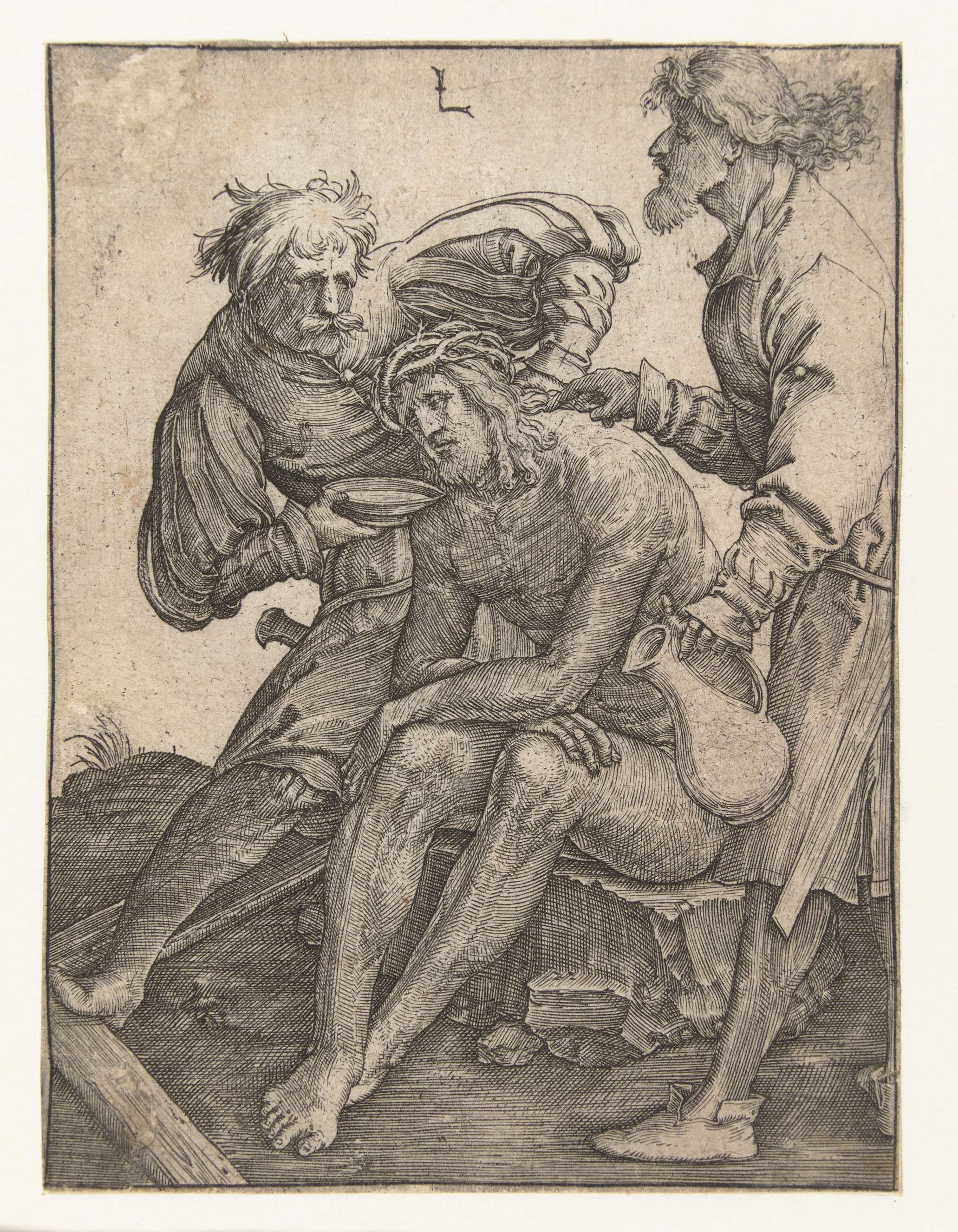 Lucas van Leyden | Soldaten geven Christus te drinken, Lucas van Leyden, 1510 - 1514 | Christus zittend op een steen. Een man biedt hem een schaal met drinken aan, een andere man heeft een kruik in zijn hand.