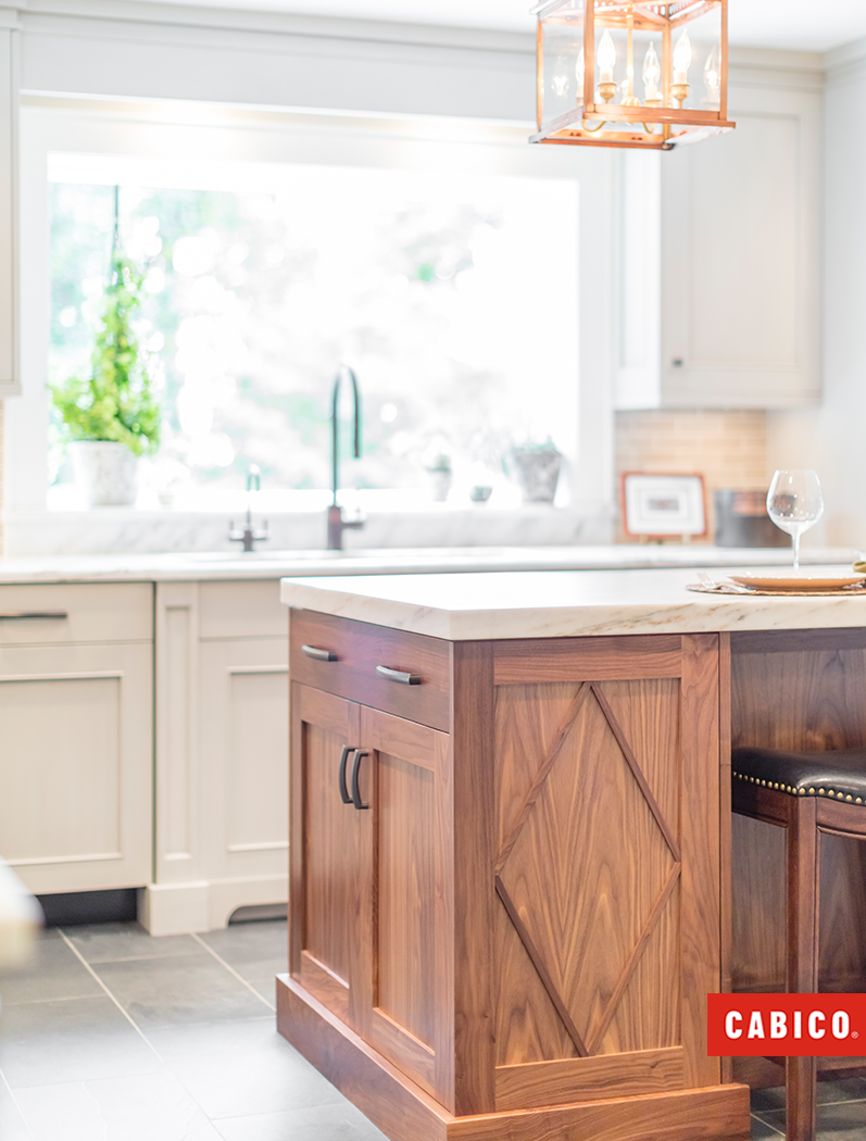 This Natural Walnut Island Adds A Rich Warmth To This White Kitchen The Diamond Overlay Pattern Adds Character And Walnut Kitchen Kitchen Sale Walnut Island