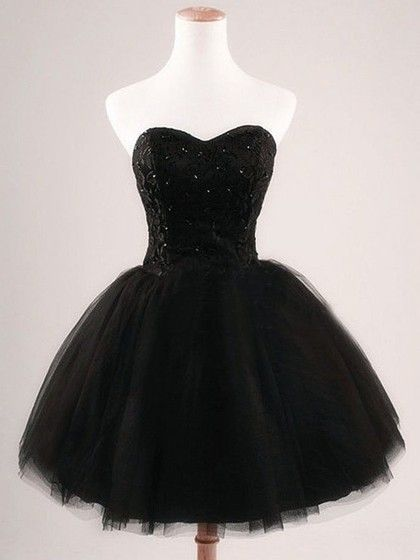 99857f1d6ae Ball Gown Sweetheart Tulle Short Mini Sequins Simple Black Homecoming  Dresses  112.99