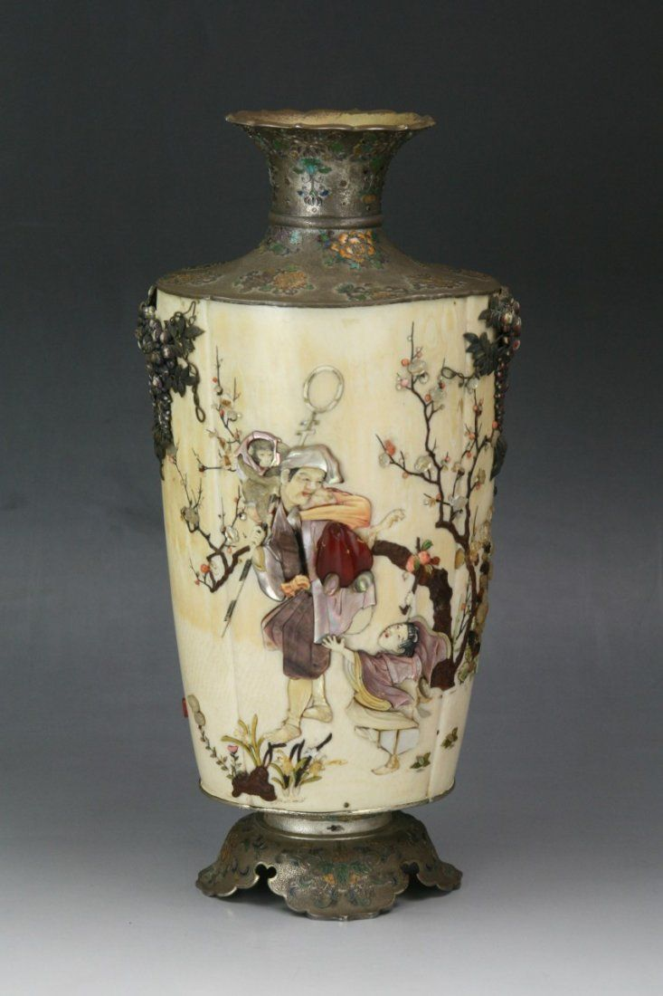 A Rare Japanese Antique Shibayama Ivory Silver Vase Apr 27 2013 Elegance Gallery Auctioneers In Ca Japanese Antiques Silver Vase Shibayama