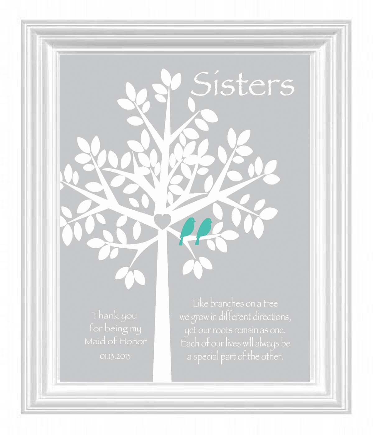 Sisters Personalized Gift - Maid of Honor Gift  Wedding Gift for Sister -Bridesmaid Best Friend Print- Words and Colors can be customized. $15.00, via Etsy.