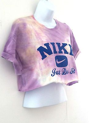 93d21660 NEW Tie Dye NIKE Crop Top T Shirt Grunge Trash Retro Hipster Ibiza M 10 12