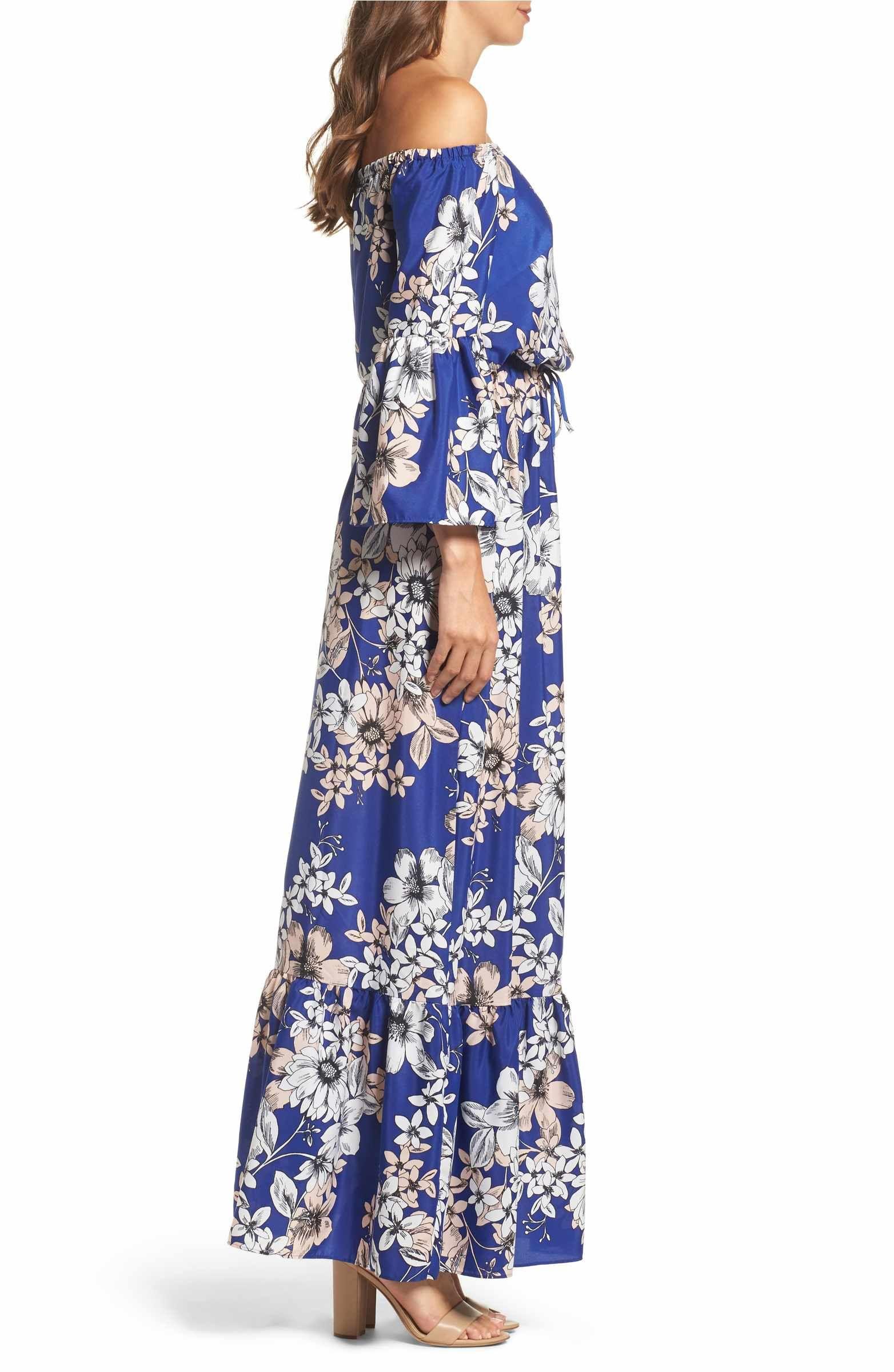 c67167cc09 Main Image - Eliza J Off the Shoulder Floral Maxi Dress (Regular   Petite)