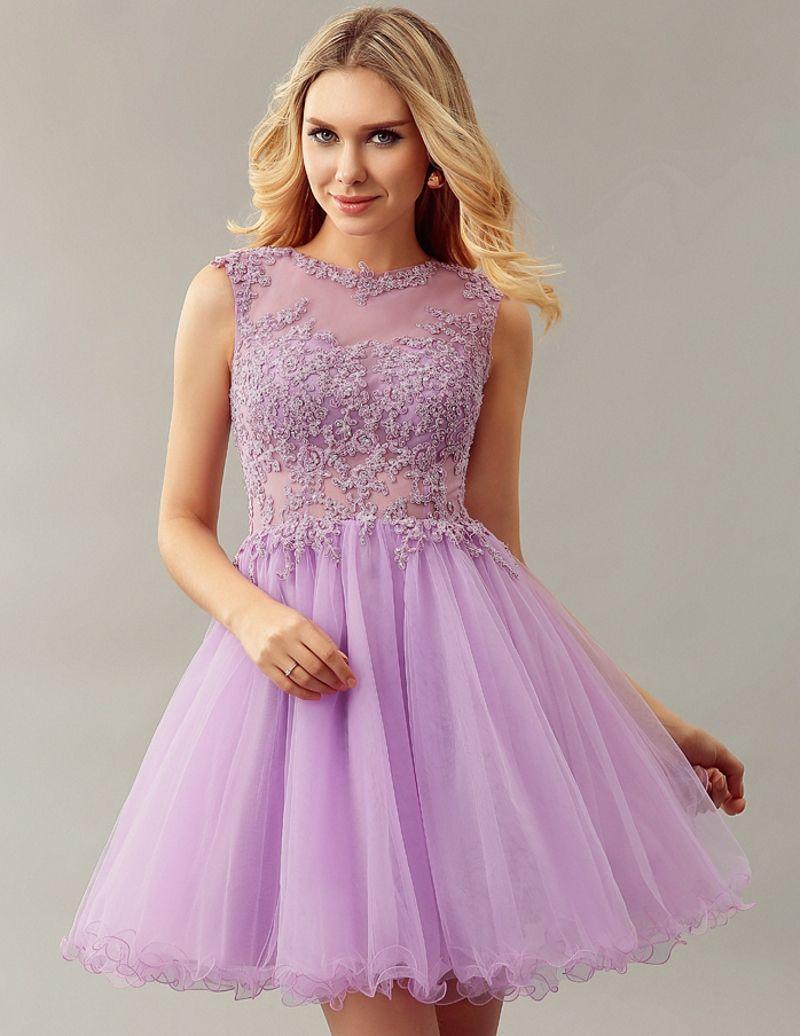 Sexy Lace Lilac Short Cocktail Dresses 2016 Homecoming Coctail robe de Cocktail Party Dress vestidos de coctel