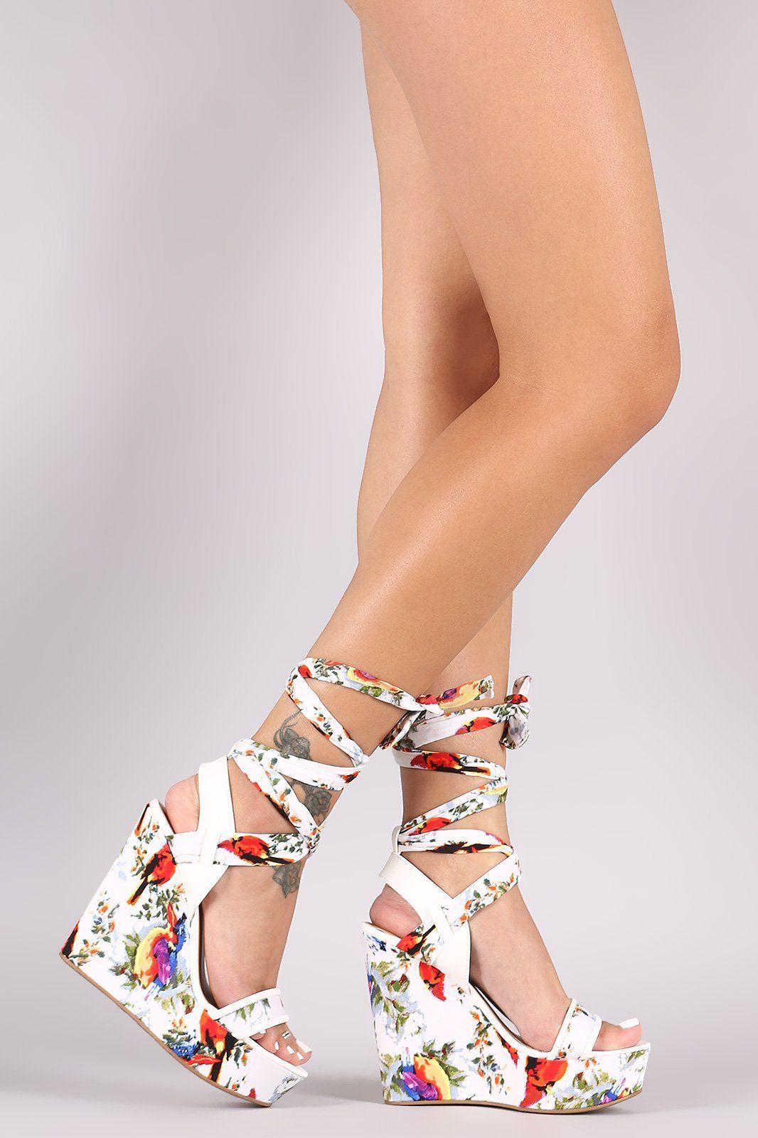 Bamboo Printed Strappy Leg Wrap Platform Wedge