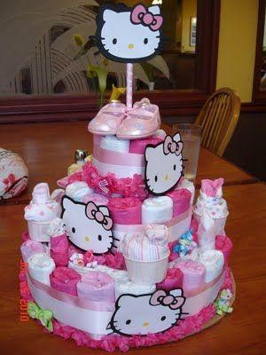 More Diaper Cake Inspiration Hello Kitty Birthday Party Ideas