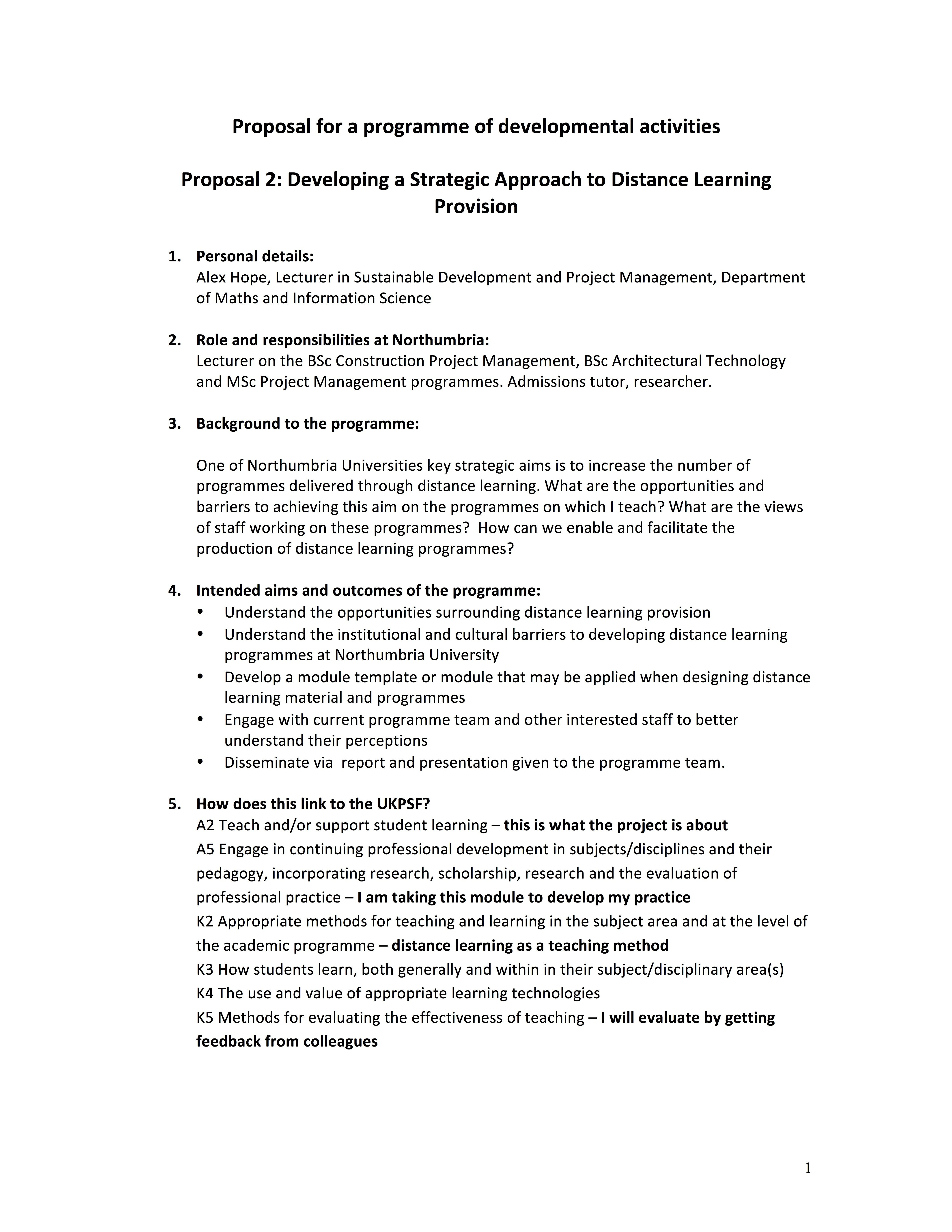 Proposal  Developing A Strategic Approach To Distance Learning