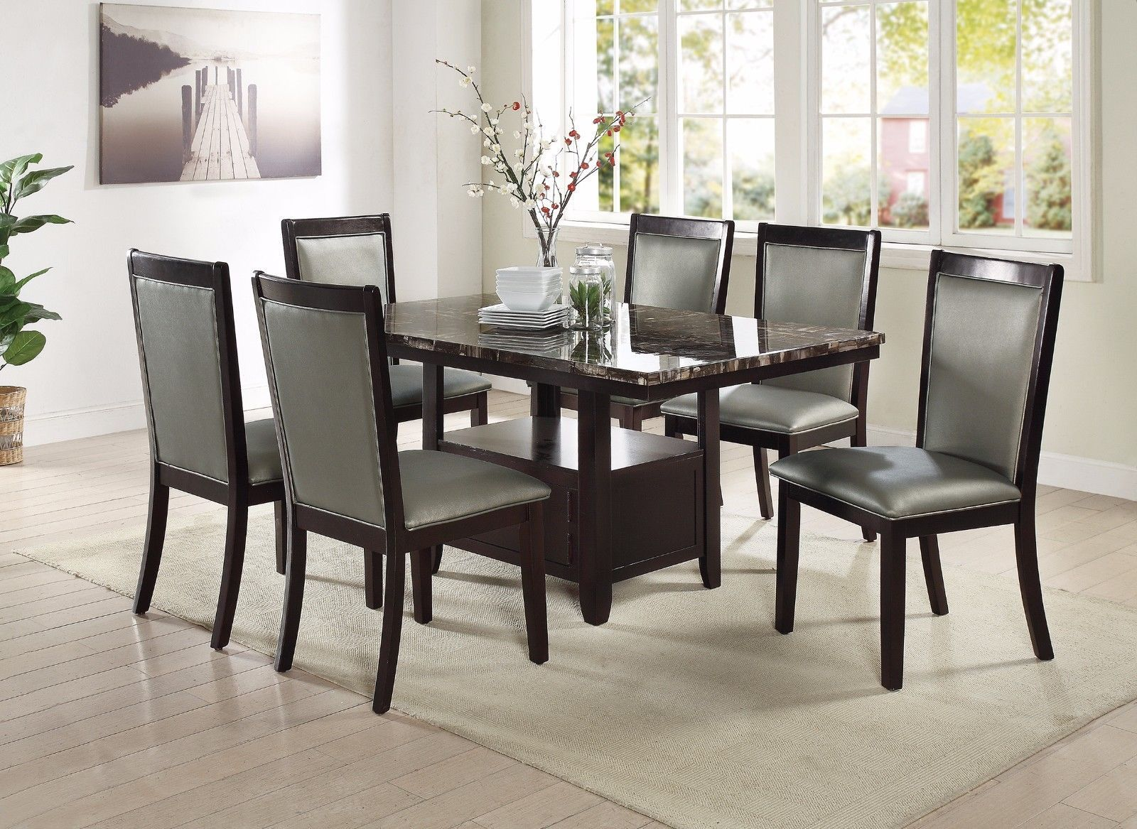 Espresso Marble Top Dining Table Kitchen Silver Leather Chairs 7pc Set