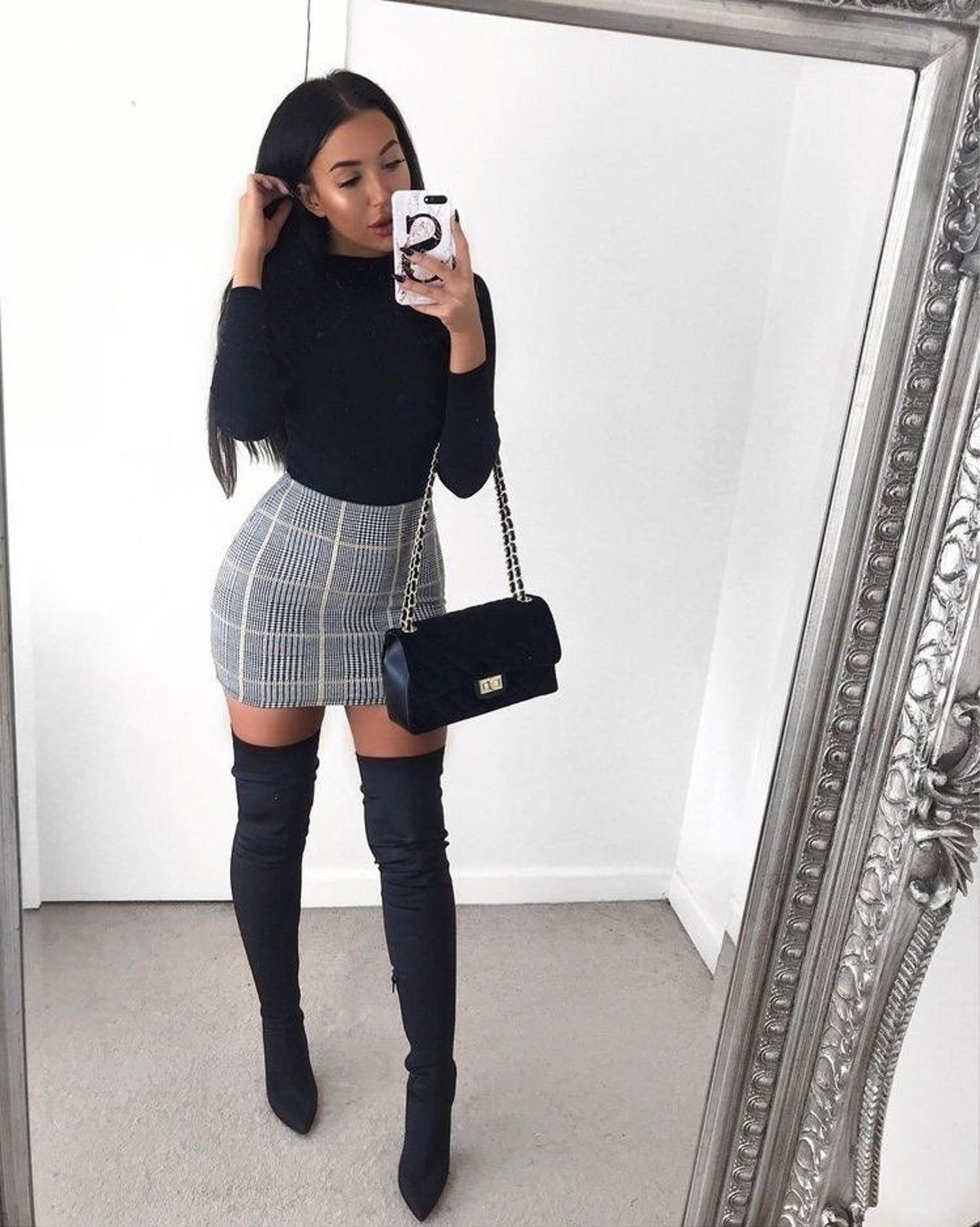 Thigh High Boots Winter Date Night Outfits Night Outfits Fashion Inspo Outfits [ 1501 x 1200 Pixel ]