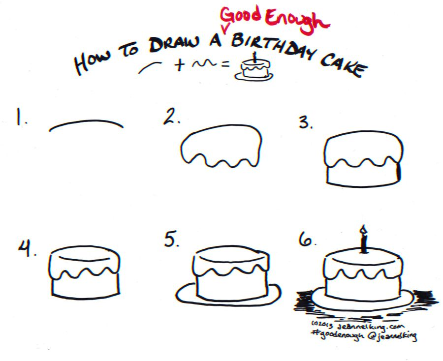 How to draw a Good Enough birthday cake - tutorial image ...