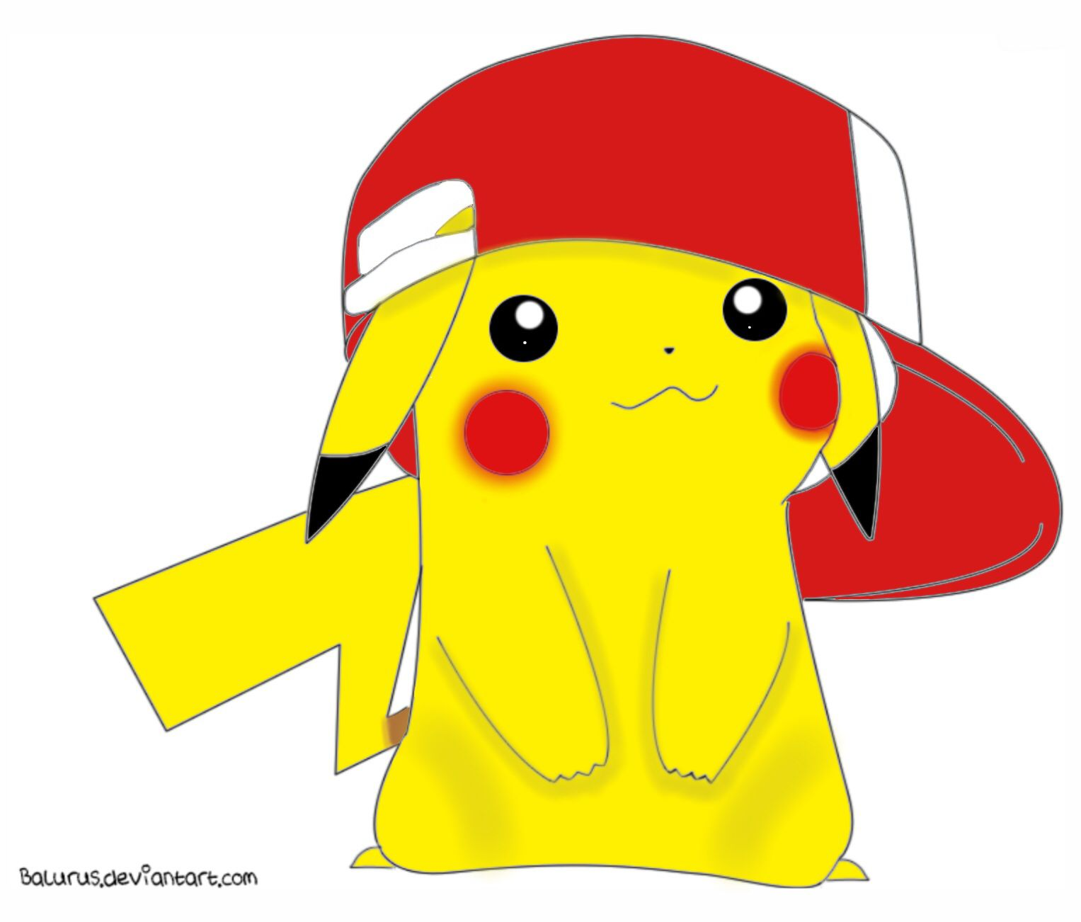 Pikachu Wearing Ash's Hat. Lineart Colored By Alli