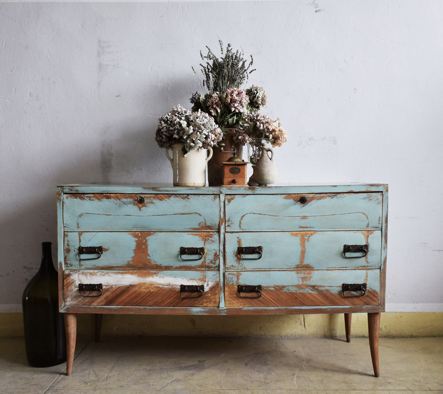 FEDERICA SCALETTA -vintage sideboard , handmade decoration in Italy. #furniture #vintagefurniture #furnituredecoration #furnituredecor #interiors #homedecoration