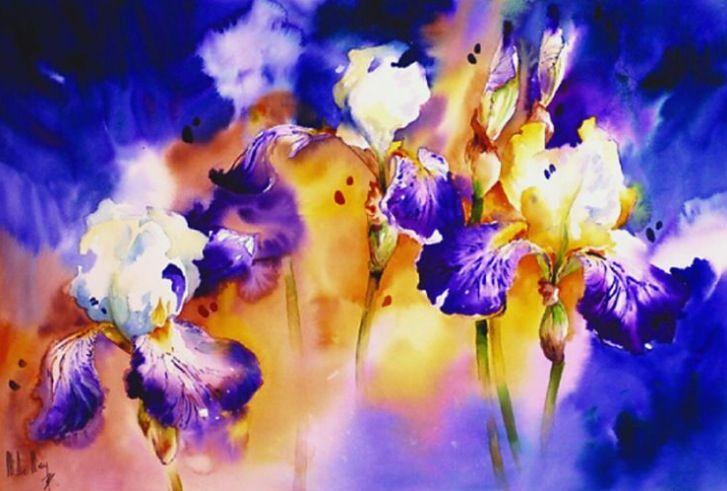 Maryse De May Watercolor Maryse De May Peinture Fleurs
