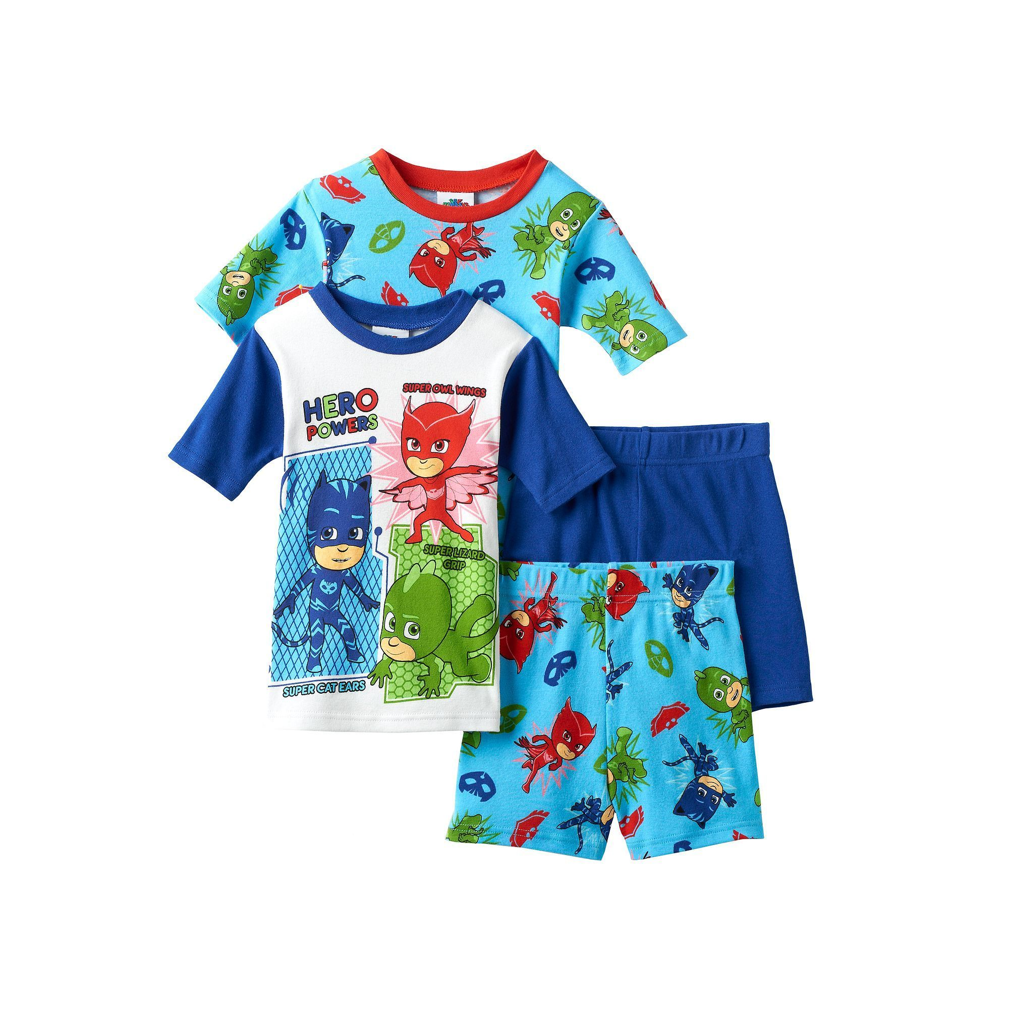Exceptional Boys 4 8 PJ Masks 4 Piece Pajama Set, Multicolor