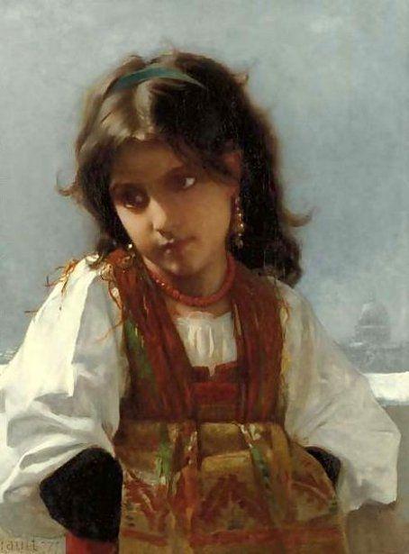 The Italian Girl - Léon Bazile Perrault (1832 - 1908, French)