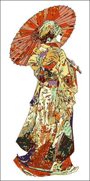 Hikifurisode Ex-Machina by HR-FM - Prints now available from Eyes On Walls - http://www.eyesonwalls.com/collections/hr-fm #art #digitalart #hrfm