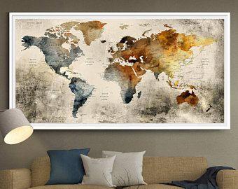 World Map Wall Art Large Wall Decor Extra Large Wall Art Extra - Extra large framed world map