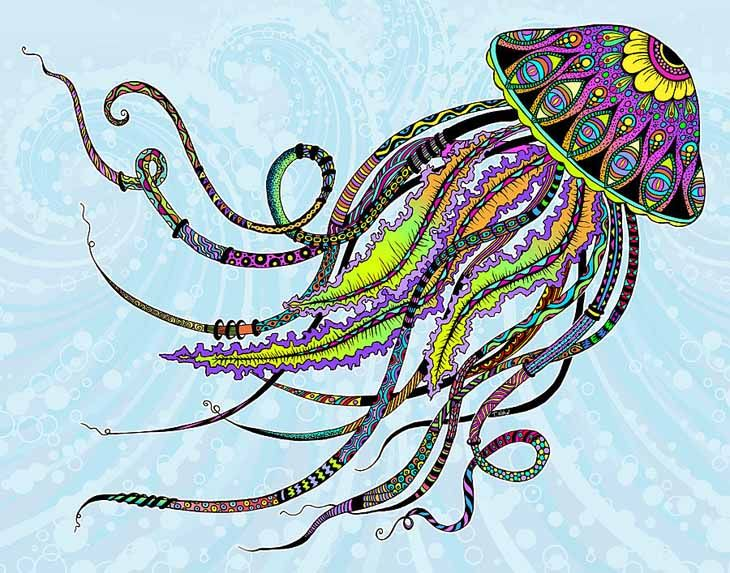 U0027Electric Jellyfishu0027 Art Print By Tammy Wetzel. Find This Pin And More On Animal  Coloring Pages ...