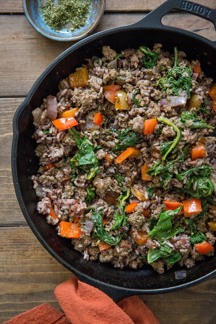 One Skillet Ground Beef And Wild Rice The Roasted Root Wild Rice Recipes Beef Spinach Recipe Healthy Beef Recipes