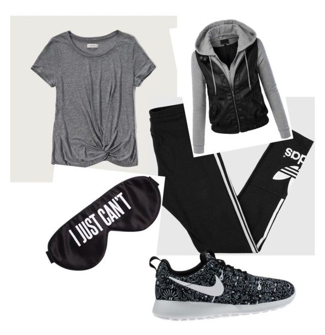 """""""Untitled #1"""" by aubreypusser on Polyvore featuring Abercrombie & Fitch, adidas, LE3NO, Perpetual Shade and NIKE"""