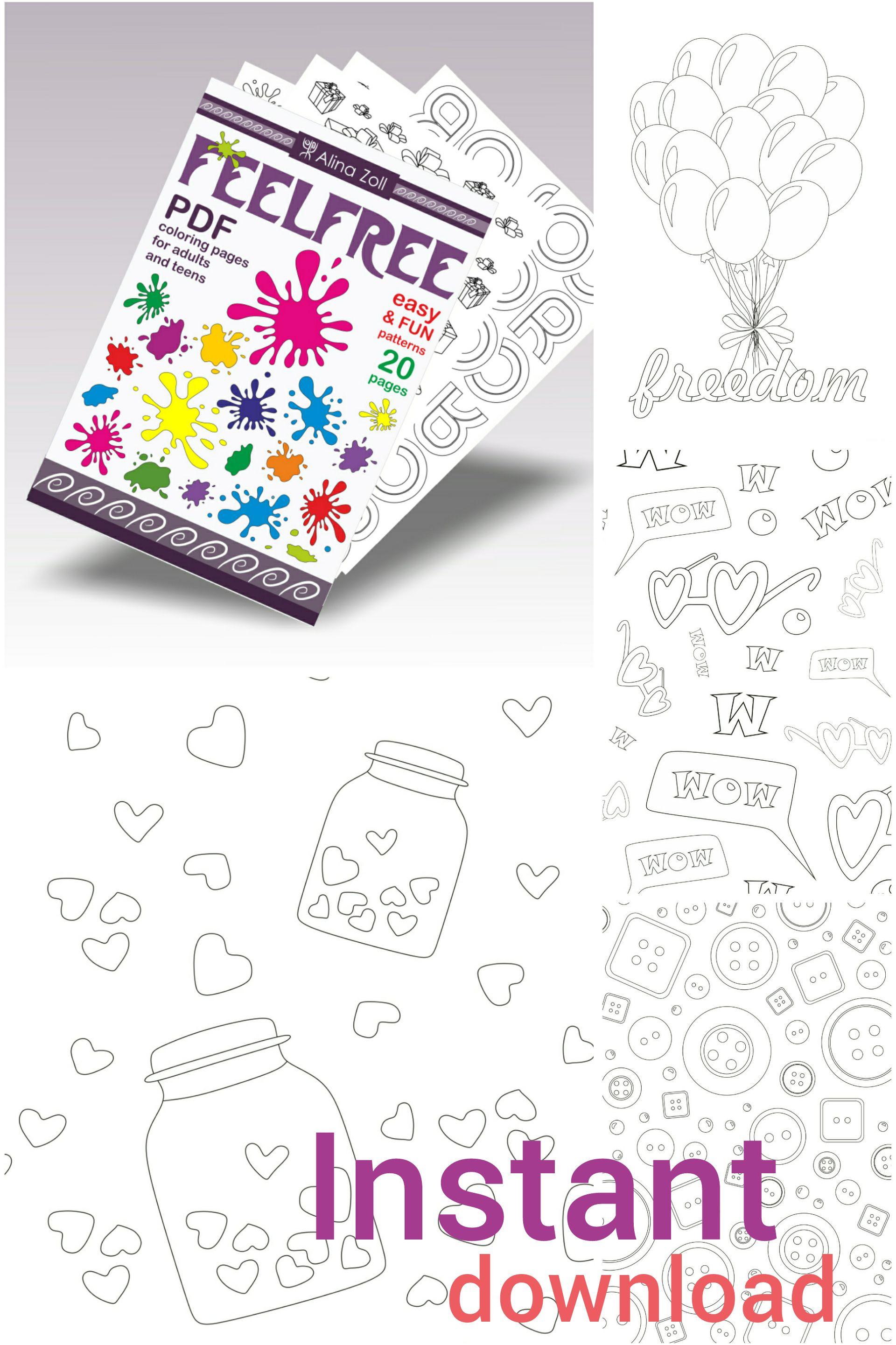 Digital Coloring Book Pdf Printable Coloring Pages Download Etsy Printable Coloring Pages Coloring Pages Printable Coloring