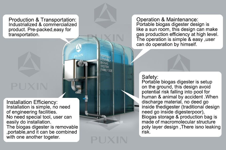 China Puxin Mini Portable Assembly Anaerobic Digestion