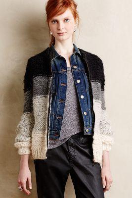 Gradient organic wool female cardigan unique extravagant coat custom