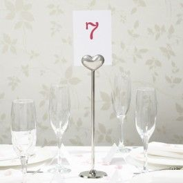 Silver Heart Table Numbers
