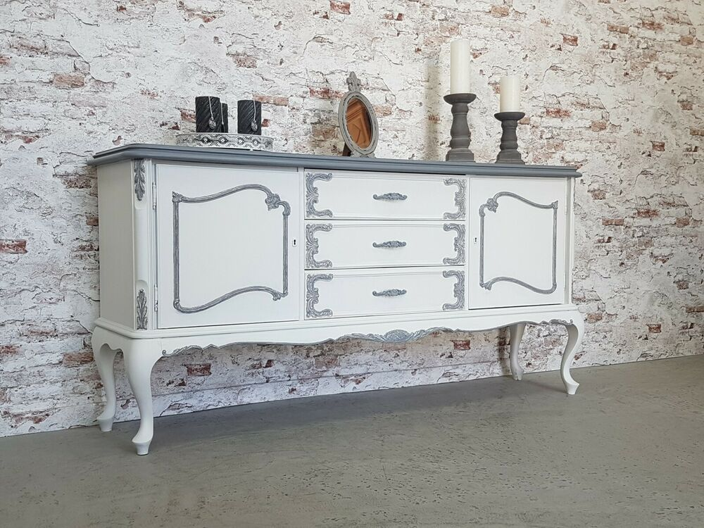 Anrichte Chippendale Sideboard Shabby Chic Antik Weiss Grau