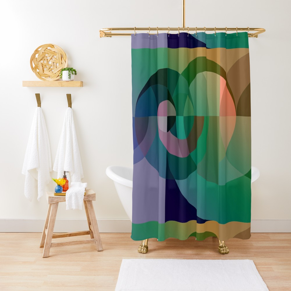Abstract Geometric Design Sea Sunset Shower Curtain By Edrawings38 Curtains Blue Colour Palette Shower